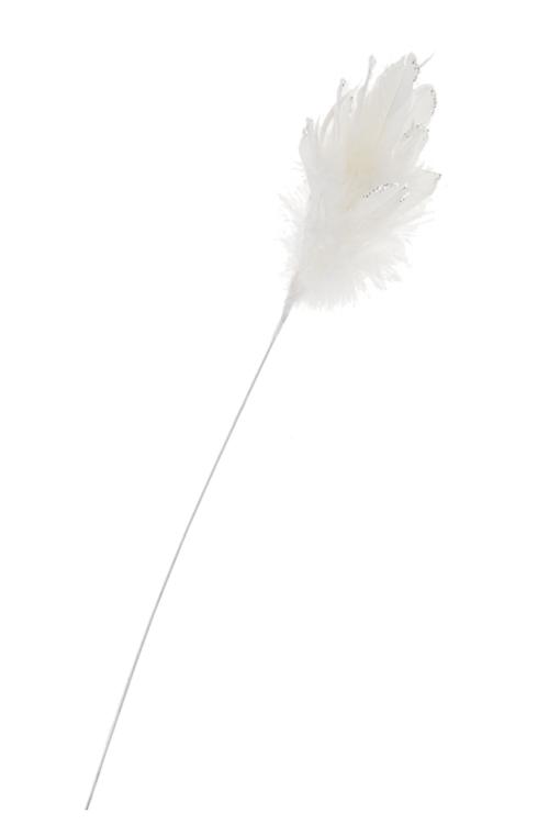 Украшение для интерьера Ветка с перьямиПодарки<br>Выс=53см, перо, белое (2 вида)<br>