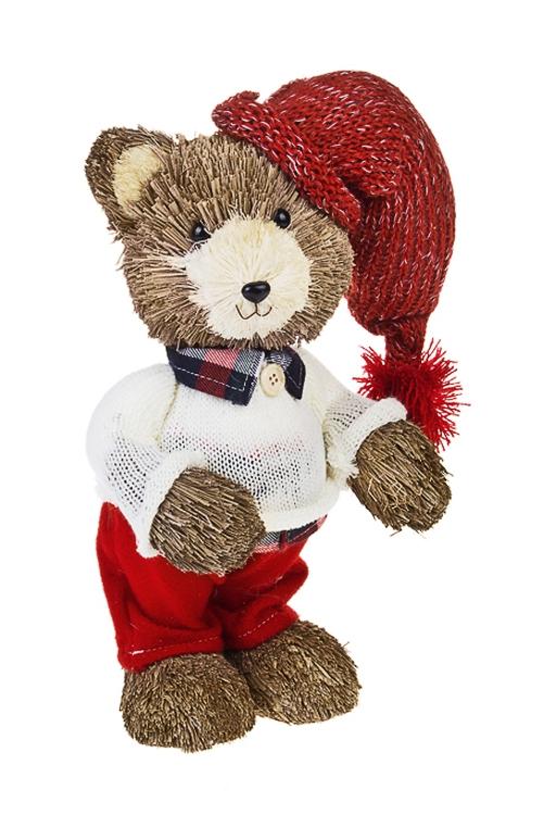 Украшение для интерьера Миша в свитере и шапочкеПодарки<br>Выс=30см, натур. матер., текстиль, пенопласт<br>