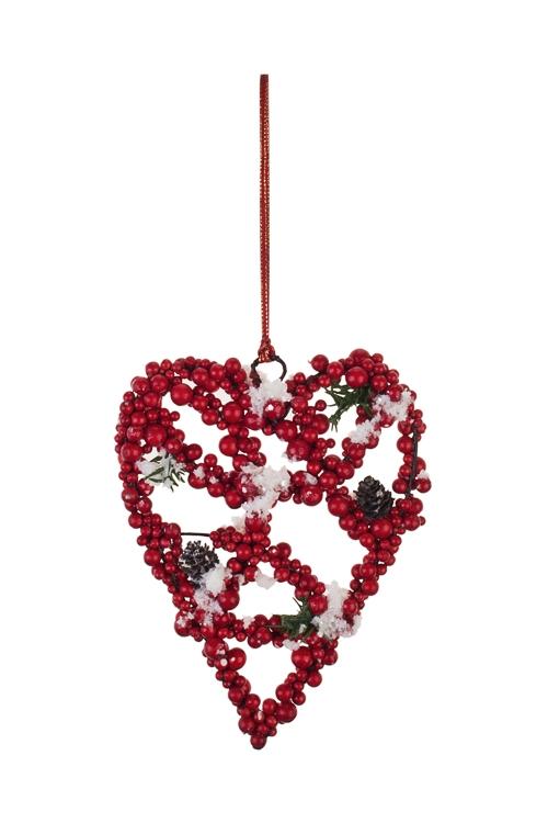 Украшение для интерьера Сердце из ягодокПодарки<br>14*17см, пенопласт, красно-зеленое, подвесное<br>