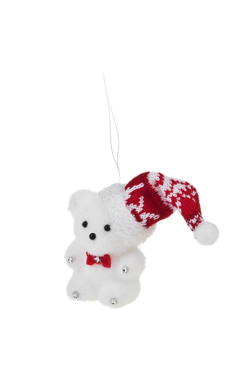 Украшение для интерьера Мишка с бабочкойЕлочные игрушки<br>Выс=9см, текстиль, пенопласт, красно-белое, подвесное<br>