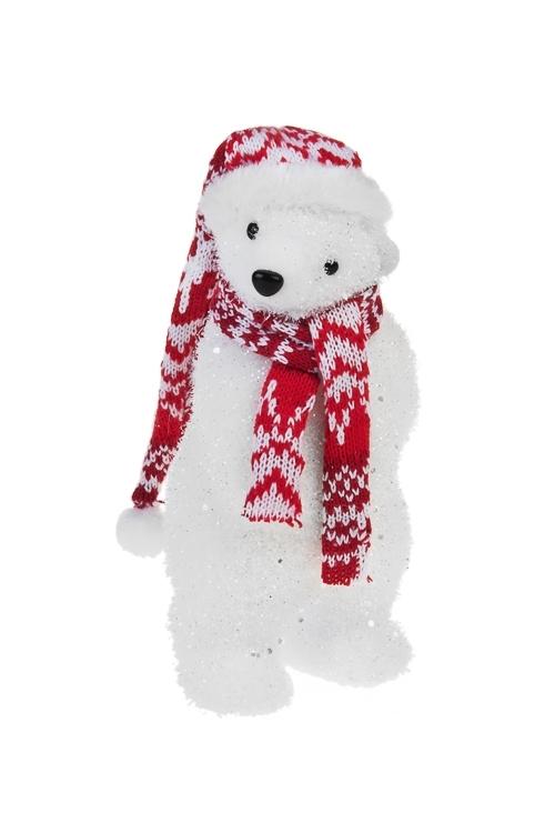 Украшение для интерьера Мишка в шапочкеПодарки<br>Выс=20см, текстиль, пенопласт, красно-белое<br>