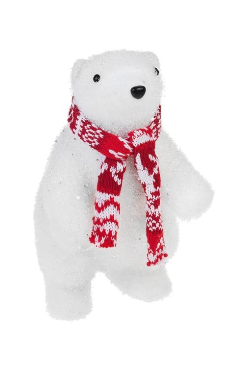 Украшение для интерьера Мишка с шарфикомПодарки<br>Выс=25см, текстиль, пенопласт, бело-красное<br>