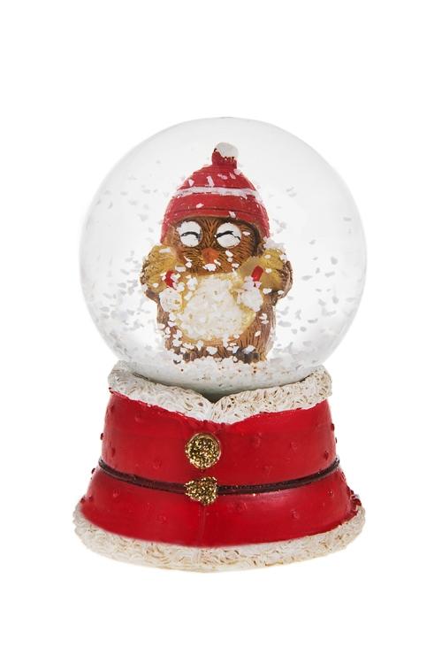 Украшение для интерьера Шар - Совушка в шапочкеШары со снегом<br>Выс=6.5см, полирезин, бело-красно-коричн.<br>