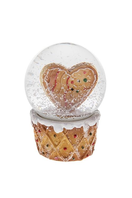 Украшение для интерьера Шар - Пряничное сердцеШары со снегом<br>Выс=8.5см, полирезин, беж.<br>