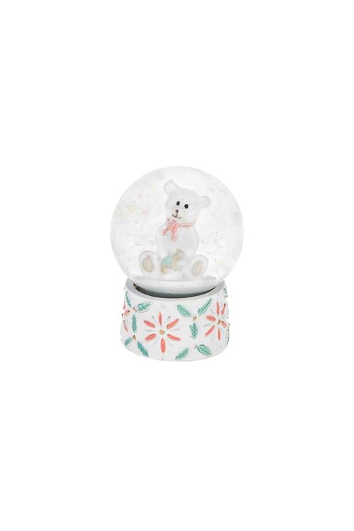 Шар со снегом Мишка в шареСувениры и упаковка<br>Выс=6.5см, полирезин, крем.-мятно-розовое<br>