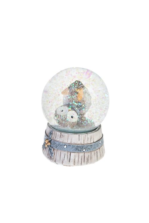 Шар со снегом Совенок-спортсменСувениры и упаковка<br>Выс=9см, полирезин, серо-белое (2 вида)<br>