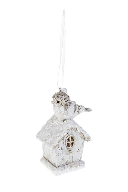 Украшение для интерьера светящееся Птичкин домЕлочные игрушки<br>Выс=12см, полирезин, бело-серое, подвес., на батар.<br>
