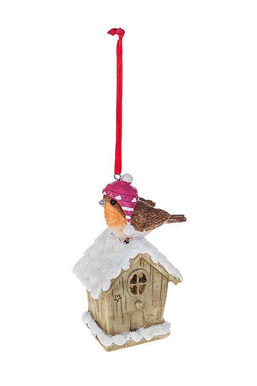 Украшение для интерьера светящееся Птичкин домЕлочные игрушки<br>Выс=12см, полирезин, бело-коричн, подвес., на батар.<br>