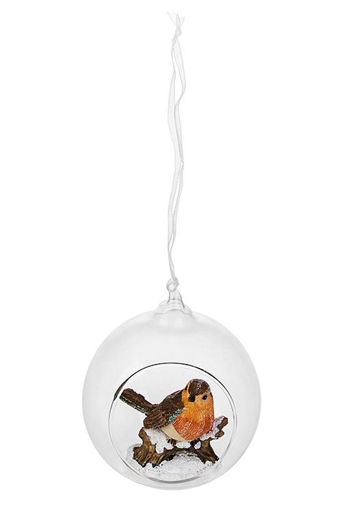 Украшение для интерьера Снегирь в шареСувениры и упаковка<br>Д=9см, полирезин, стекло, оранж.-бело-коричн., подвесное<br>
