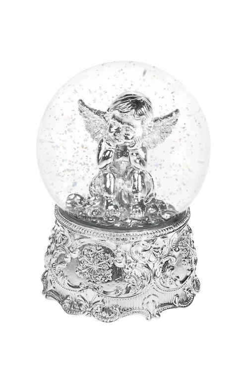 Шар со снегом Задумчивый ангелНовогодние сувениры<br>11*16см, полирезин, стекло, серебр., с жидк.<br>