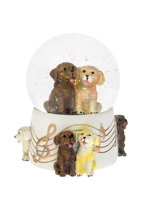Украшение для интерьера музыкальное Шар - Музыкальные песикиШары со снегом<br>12*15см, полирезин, стекло, с жидк.<br>
