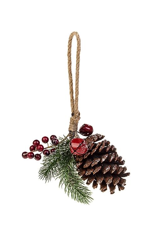 Украшение декоративное ШишкаПодарки на Новый год 2018<br>Выс=16см, пластм., натур. матер., текстиль, подвесное<br>
