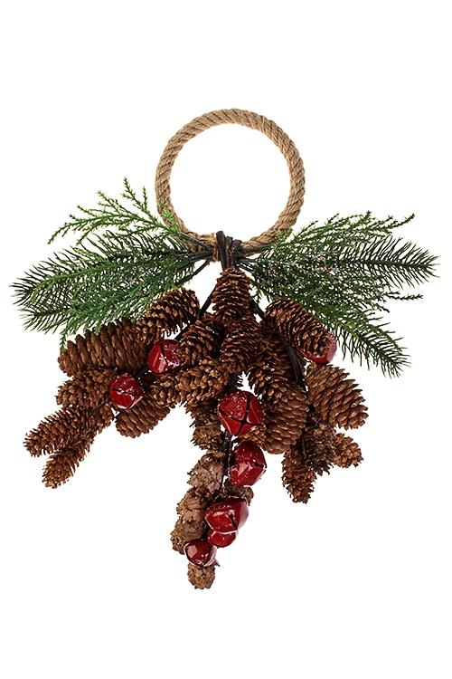 Украшение для интерьера Шишки с бубенцамиРождественские украшения<br>Выс=37см, натур. матер., пластм., металл, подвесное<br>