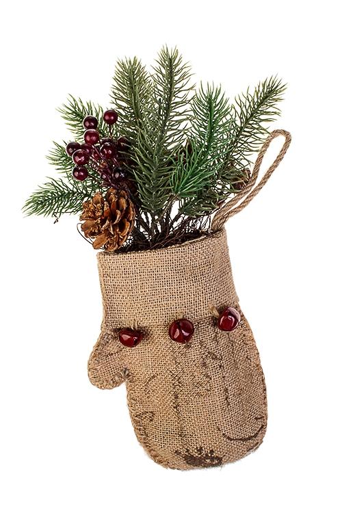 Украшение для интерьера РукавицаРождественские украшения<br>Выс=34см, пластм., натур. матер., текстиль, подвесное<br>