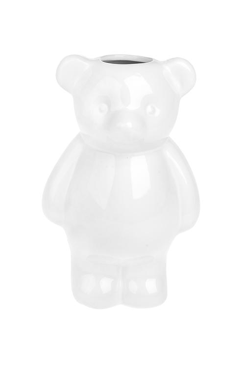 Ваза декоративная МишкаВазы для цветов<br>Выс=19см, керам., белая<br>