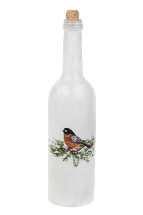 Украшение для интерьера светящееся Бутылка - Снегирь на веткеИнтерьер<br>7*29см, стекло, на батар.<br>