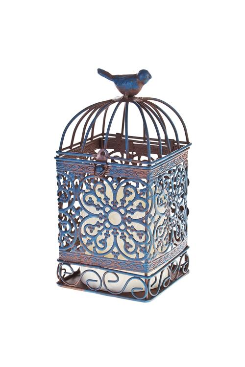 Украшение для интерьера светящ. Птичка на клеткеПодарки на день рождения<br>9*19см, металл, пластм., синее, на батар.<br>