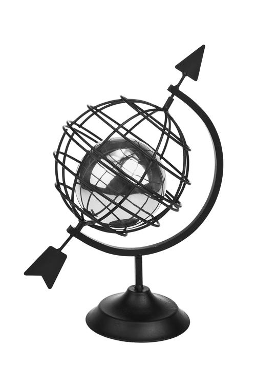 Украшение для итерьера ГлобусИнтерьер<br>22*16*32см, металл, черно-серебр.<br>