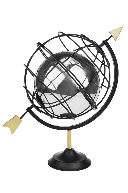 Украшение для итерьера ГлобусПодарки на день рождения<br>34*26*37.5см, металл, черно-серебр.<br>