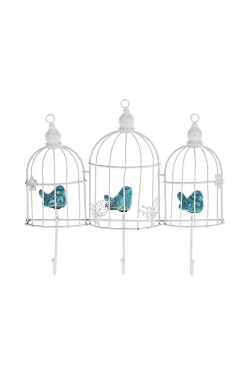 Вешалка декор. Птички в клеткахПодарки на день рождения<br>26*22см, металл, керам., бело-мятная, с 3-мя крючками<br>