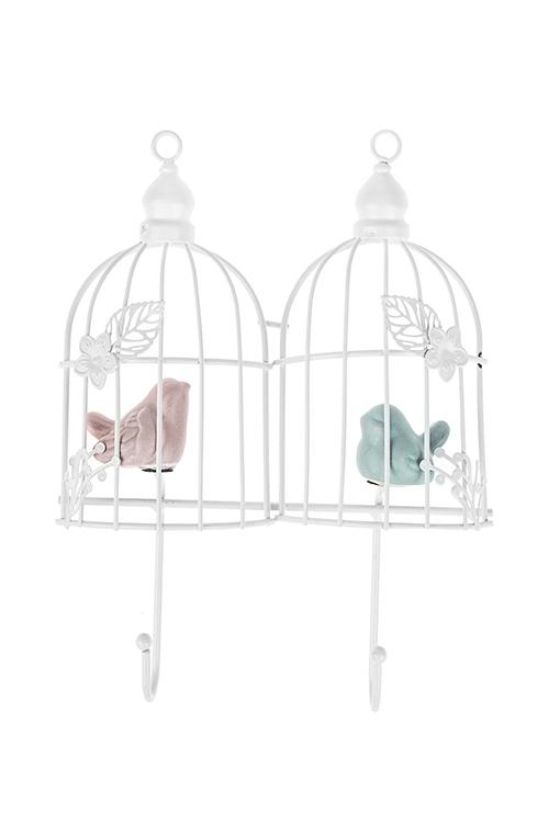 Вешалка декоративная Птички в клеткахИнтерьер<br>16*21см, металл, керам., бело-розово-голубая, с 2-мя крючками<br>