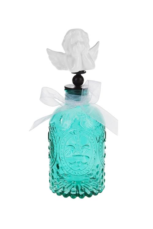 Бутылка декоративная АнгелокИнтерьер<br>Выс=20см, стекло, керам., металл, бело-изумрудн.<br>