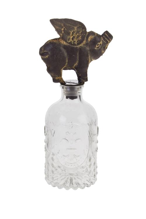 Бутылка декоративная Окрыленная хрюшаИнтерьер<br>Выс=21см, стекло, металл<br>