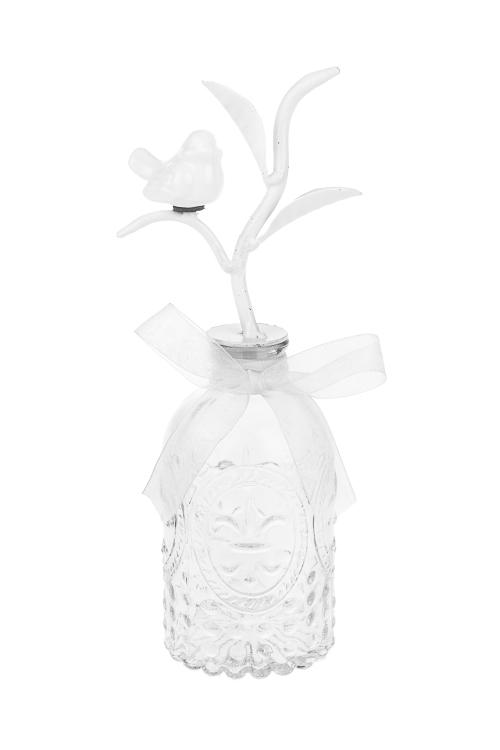 Бутылка декоративная Птичка на веточкеПосуда<br>Выс=22см, стекло, керам., металл, мятно-белая<br>