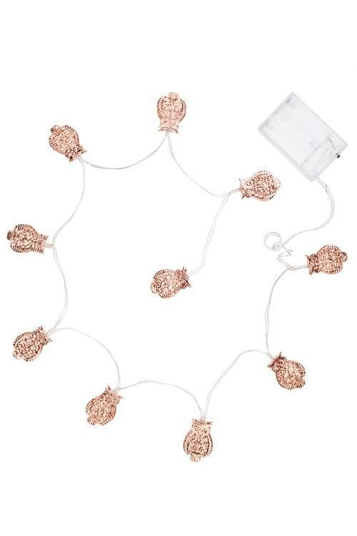 Гирлянда декоративная светящаяся СовушкиДекоративные гирлянды и подвески<br>Дл=125см, металл, роз. золот., на батарейках<br>