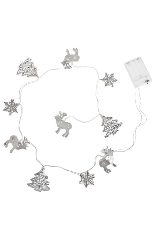 Гирлянда декоративная светящаяся Зимний лесСувениры и упаковка<br>Дл=125см, металл, золот., на батарейках<br>