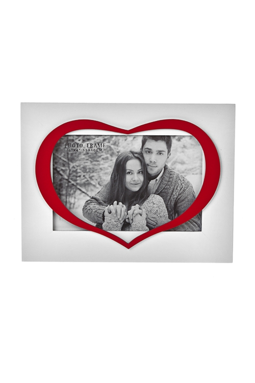 Рамка для фото ИскренностьИнтерьер<br>10*15см, МДФ, бело-красная. Удобный и оригинальный подарок на 14 февраля.<br>