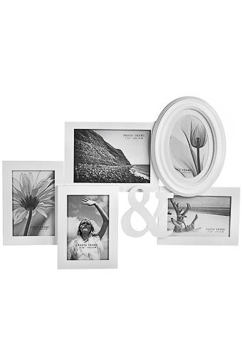 Рамка для 6-ти фото Наши путешествияДеревянные фоторамки<br>13*18см 10*15см МДФ белая<br>