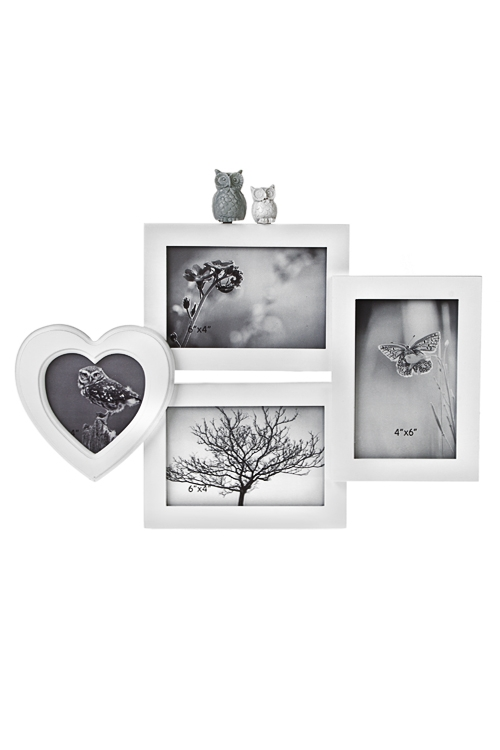 Рамка для 4-х фото СовушкиПодарки на 8 марта<br>10*15см 10*10см МДФ белая<br>