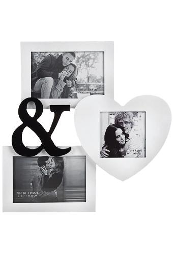 Рамка для 3-х фото Ты и яПодарок начальнице на 8 марта<br>10*15см 10*10см МДФ бело-фиолет.<br>