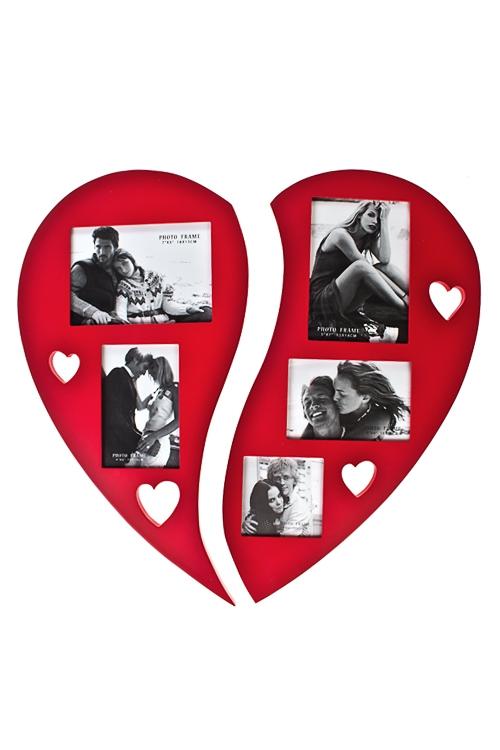 Набор рамок для фото Огромное сердцеРамки для нескольких фото<br>50*51см, фото 13*18см, 10*15см, 10*10см, МДФ, красн<br>