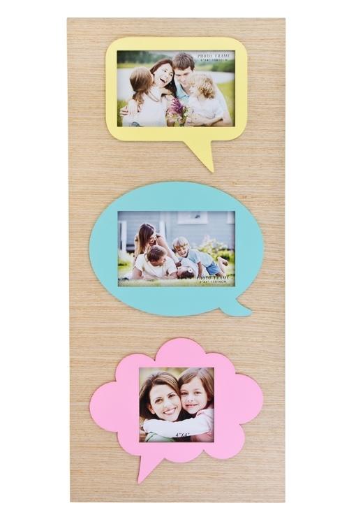 Рамка для 3-х фото ОблачкаДеревянные фоторамки<br>26*58см, фото 15*10см, 10*10см, МДФ, розово-мятно-лимонная<br>
