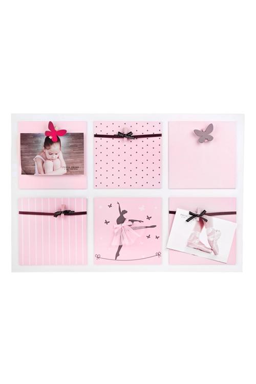 Рамка для 6-ти фото Прекрасная балеринаДеревянные фоторамки<br>55*38см, МДФ, розовая, с прищепками<br>