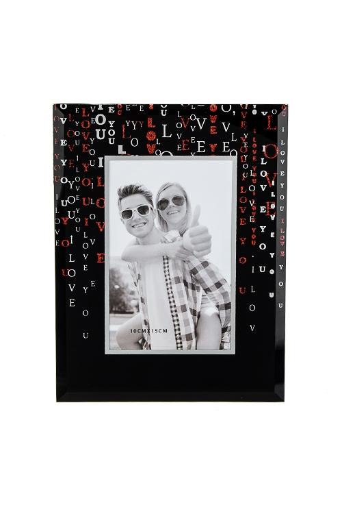 Рамка для фото ЛюбовьИнтерьер<br>17*22см, фото 10*15см, стекло, черная<br>