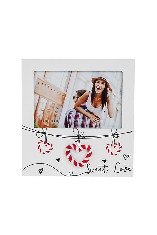 Рамка для фото Сладкая любовьДеревянные фоторамки<br>18*19см, фото 10*15см, МДФ, бело-красная<br>