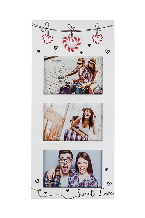 Рамка для 3-х фото Сладкая любовьИнтерьер<br>20*43см, фото 10*15см, МДФ, бело-красная<br>