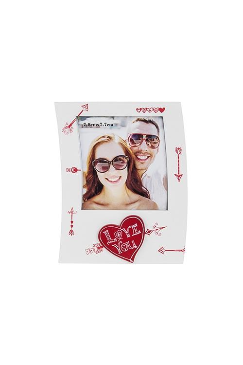 Рамка для фото Люблю тебяИнтерьер<br>10.5*13.5см, фото 8*8см, МДФ, бело-красная<br>