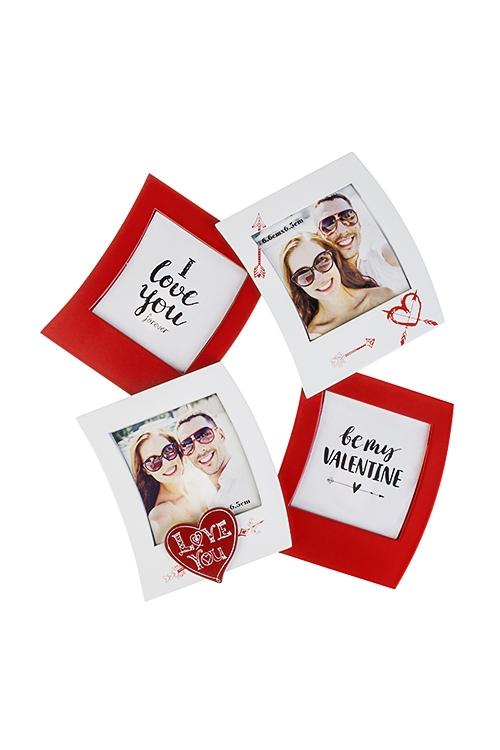 Рамка для 4-х фото Люблю тебяДеревянные фоторамки<br>21*23см, фото 8*8см, МДФ, бело-красная<br>