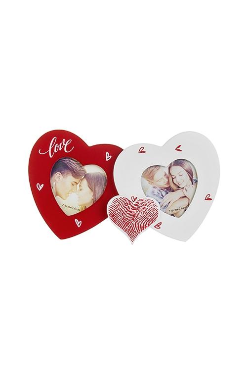 Рамка для 2-х фото Любящие сердцаДеревянные фоторамки<br>22*12.5см, фото 8*8см, МДФ, бело-красная<br>
