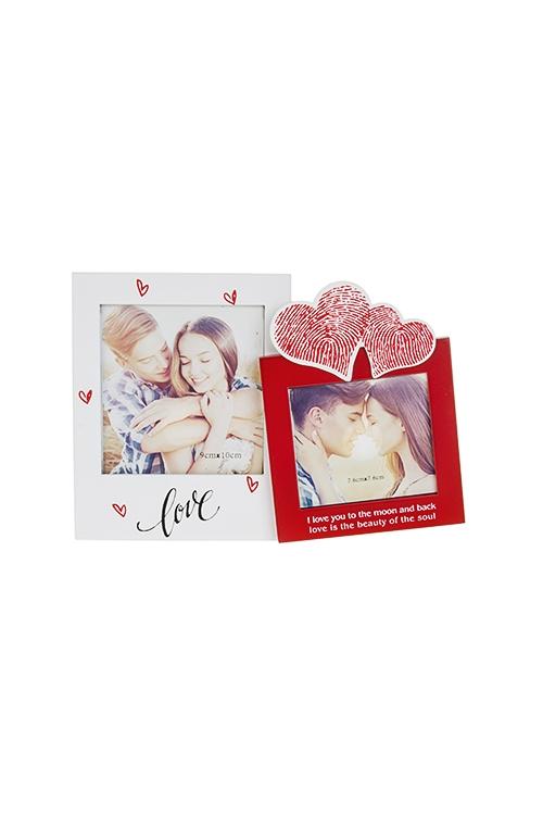 Рамка для 2-х фото Незабываемые моментыДеревянные фоторамки<br>21*15см, фото 9*10см, 8*8см, МДФ, бело-красная<br>