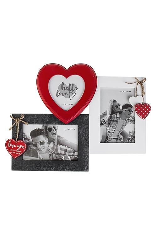 Рамка для 3-х фото Миг любвиПодарки на день рождения<br>33*27см, фото 10*15см, 10*10см, МДФ, красно-бело-серая<br>