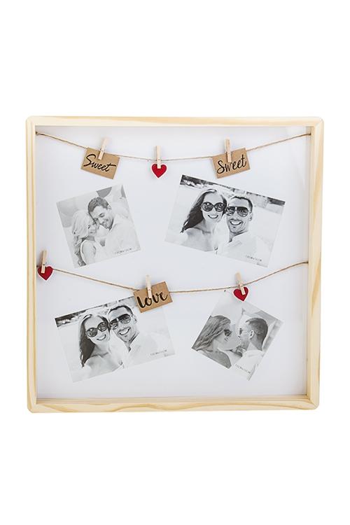 Рамка для 4-х фото МоментыПодарки ко дню рождения<br>38*38см, фото 10*15см, 10*10см, МДФ<br>