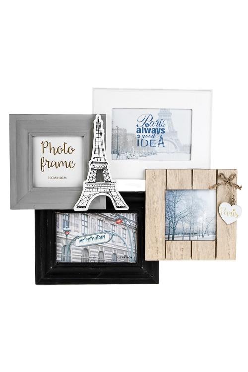Рамка для 4-х фото Парижские историиПодарки ко дню рождения<br>40*34см, фото 10*15см, 10*10см, МДФ<br>