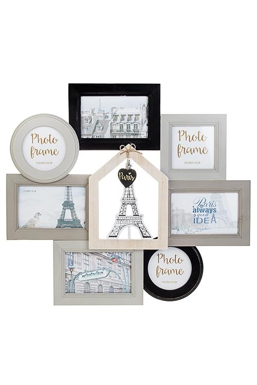 Рамка для 7-ми фото Парижские историиПодарки ко дню рождения<br>50*46см, фото 10*15см, 10*10см, МДФ<br>