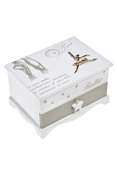 Шкатулка для ювелирных украшений БалеринаШкатулки для украшений<br>17*12*10см, МДФ, крем.-беж.<br>