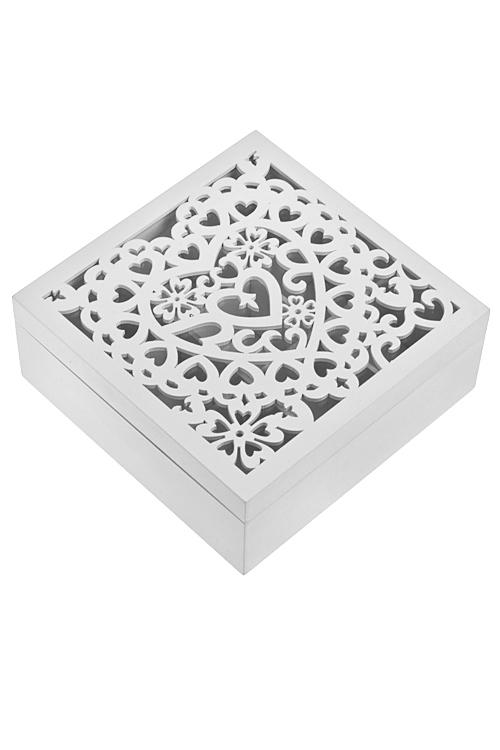 Шкатулка для ювелирных украшений Кружевное сердцеШкатулки для украшений<br>18*18*7см, 9 отдел., МДФ, белая<br>